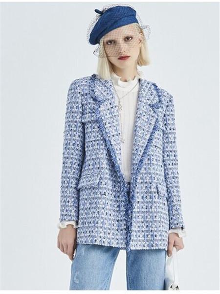 芭蒂娜 - BADINA女装品牌彩38平台2020秋冬蓝色毛呢外套