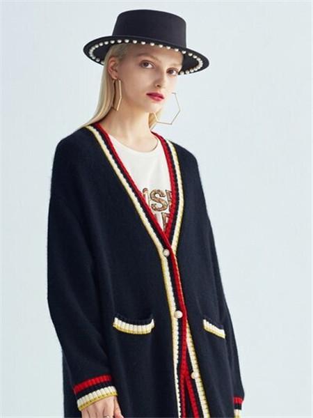 芭蒂娜 - BADINA女装品牌彩38平台2020秋冬黑色针织外套