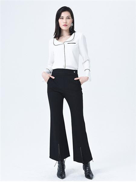 依妙女装品牌2020秋冬个性白色衬衫