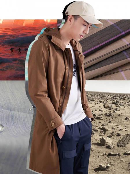 写生男装品牌2020秋季时尚褐色带帽外套