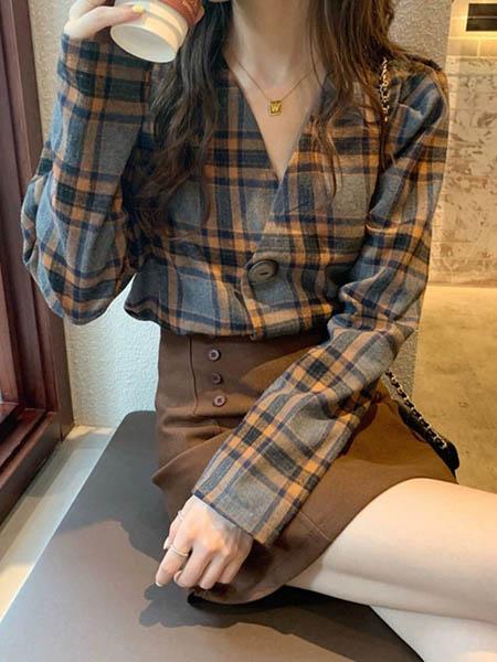 Sandro Tonali女装品牌2020秋季潮流格子开衫上衣