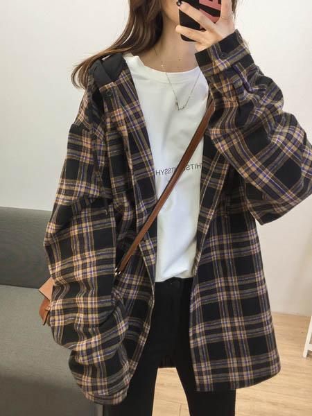Sandro Tonali女装品牌2020秋季格子快时尚外套