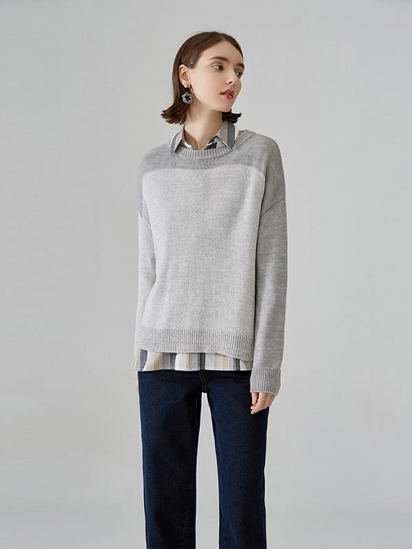 诺有服装女装品牌2020秋冬灰色圆领针织衫