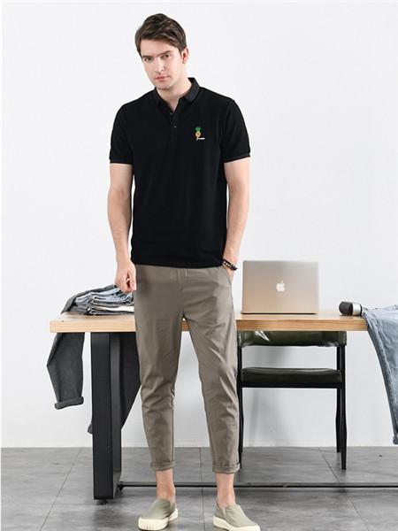 汉絮男装品牌2020春夏黑色舒适立领T恤