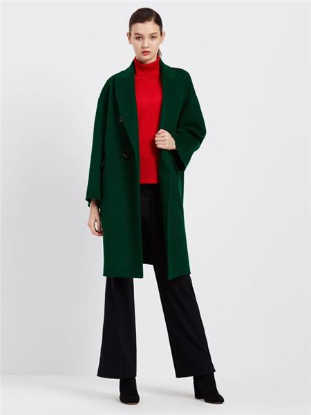臣枫女装品牌2020秋冬青色个性长款外套