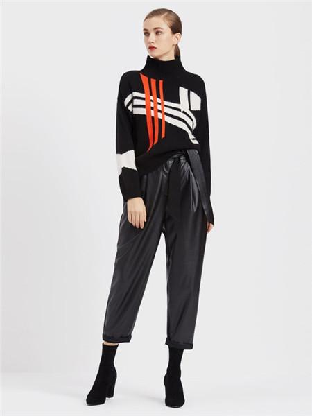 臣枫女装品牌2020秋冬几何高领针织衫