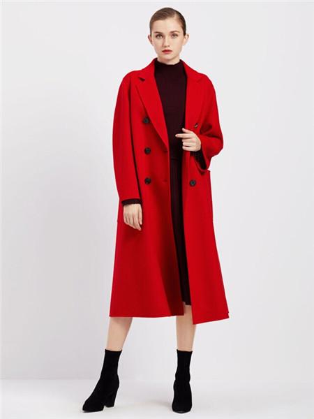 臣枫女装品牌2020秋冬红色商务长款外套