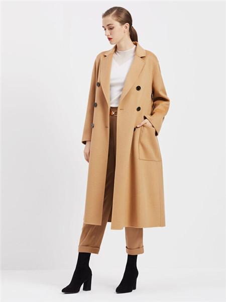 臣枫女装品牌2020秋冬舒适卡其色长款外套