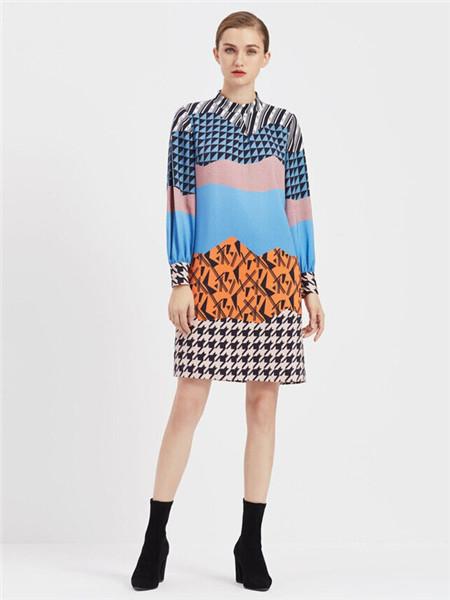 臣枫女装品牌2020秋冬拼接几何圆领连衣裙