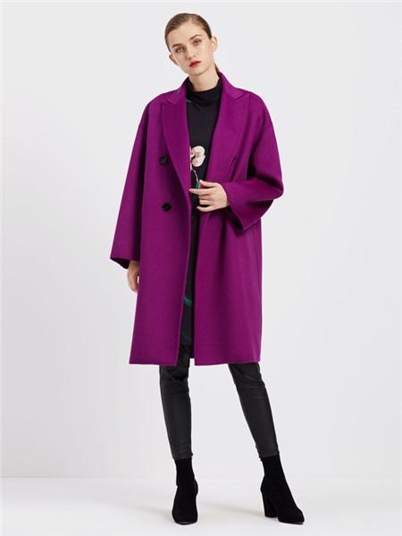 臣枫女装品牌2020秋冬紫色清新外套
