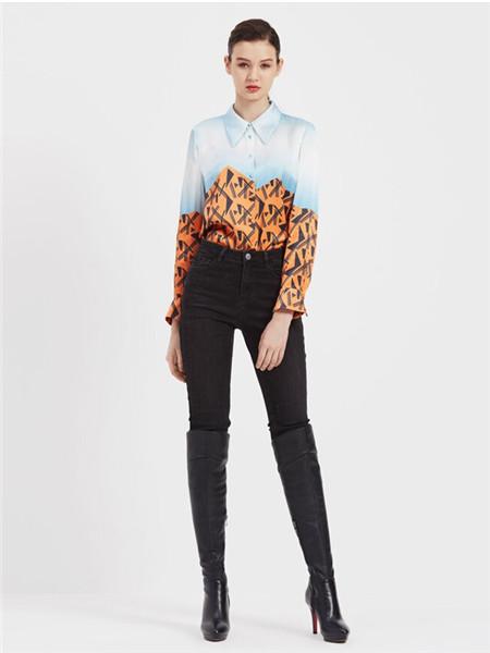 臣枫女装品牌2020秋冬斑纹立领衬衫