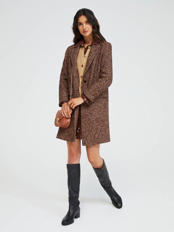 希思黎女装品牌2020秋季复古褐色外套
