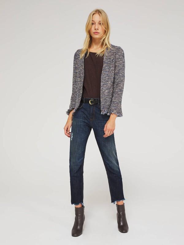 希思黎女装品牌2020秋季灰色针织外套