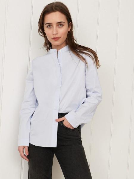 jennikayne国际品牌2020秋季个性立领白色衬衫