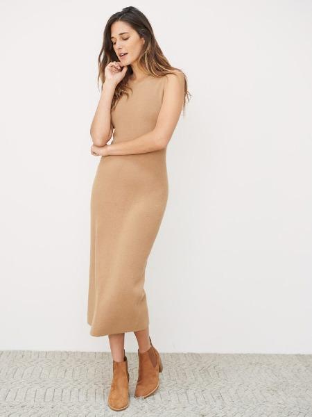 jennikayne国际品牌2020秋季时尚无袖纯色连衣裙
