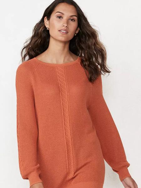 laurenconrad国际品牌2020春夏橘色圆领羊毛衫
