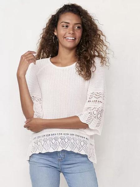 laurenconrad国际品牌2020春夏镂空印花白色针织衫