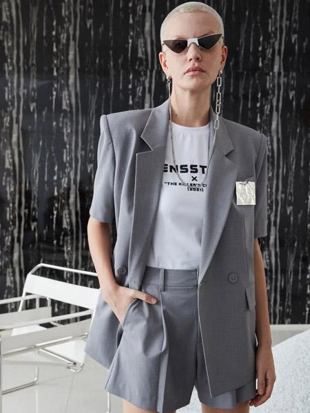 维斯提诺女装品牌2020秋季时尚灰色西装外套