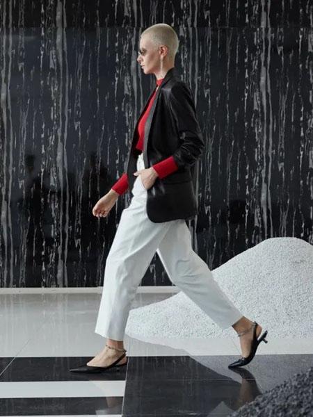 维斯提诺女装品牌2020秋季潮流白色长裤