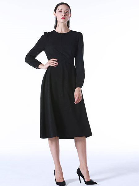 Vesper Lynd女装品牌2020秋冬百搭黑色长袖连衣裙