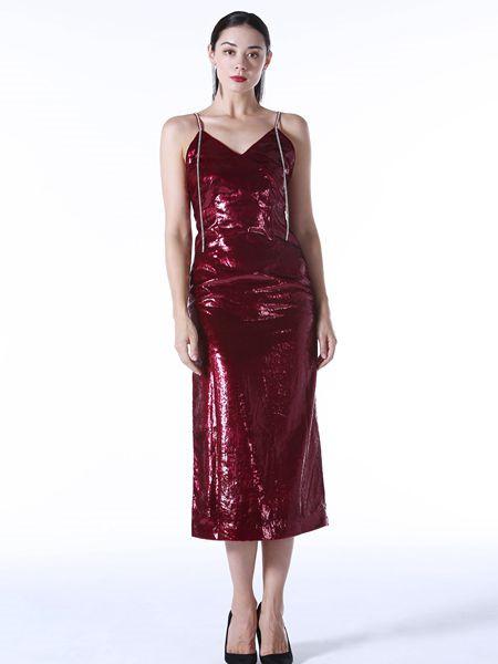 Vesper Lynd女装品牌2020秋冬吊带红色连衣裙
