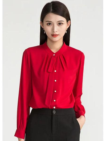 迪丝爱尔女装品牌2020秋季红色礼结长袖衬衫