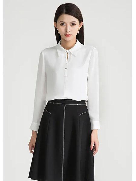 迪丝爱尔女装品牌2020秋季商务白色立领上衣