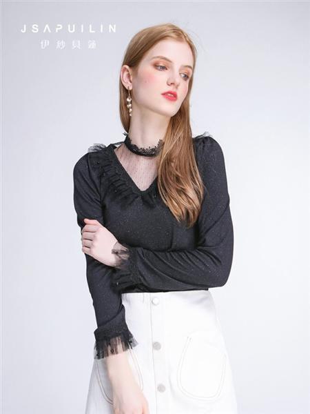伊紗貝蓮JSAPUILIN女裝品牌2020秋季V領黑色花邊上衣