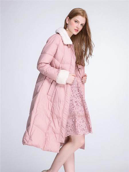 伊紗貝蓮JSAPUILIN女裝品牌2020秋季粉色毛呢領長款羽絨服