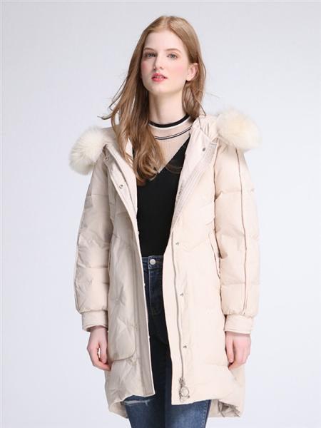 伊紗貝蓮JSAPUILIN女裝品牌2020秋季白色加絨長款羽絨服