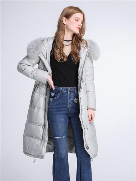 伊���JSAPUILIN女�b品牌2020秋季潮流灰色羽�q外套