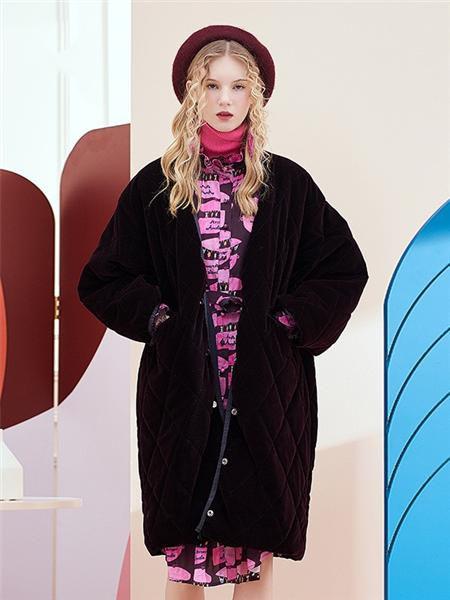 安所女装品牌2020秋季黑色毛呢外套