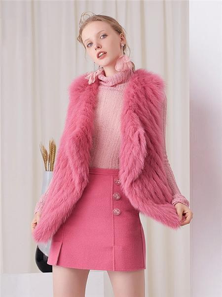 安所女装品牌2020秋季粉色毛呢无袖马甲