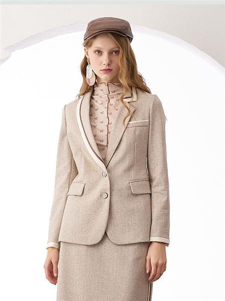 安所女装品牌2020秋季商务纯色西服套装