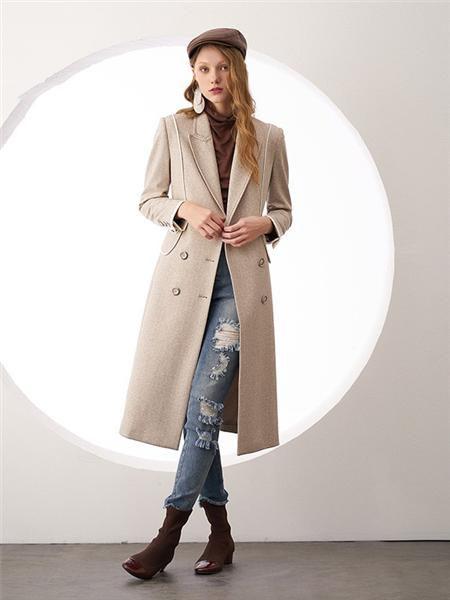 安所女装品牌2020秋季个性纯色长款外套