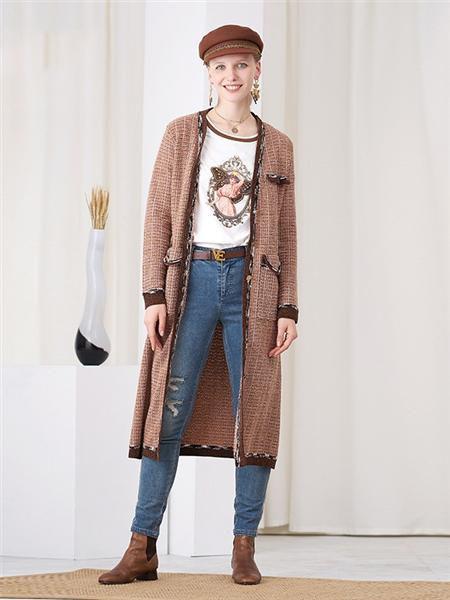 安所女装品牌2020秋季潮流纯色长款外套