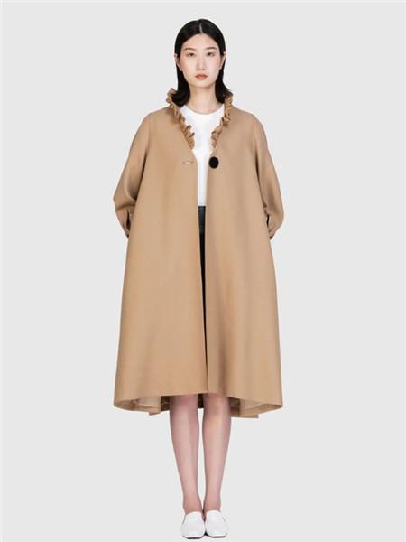 nisiss怡夕女装品牌2020秋冬褐色长袖长款外套