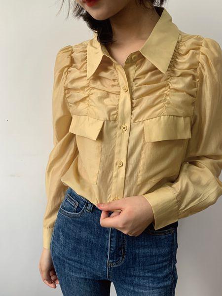 MOMOTREE女装品牌2020秋冬褶纹立领黄色上衣