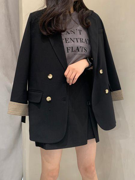 MOMOTREE女装品牌2020秋冬黑色个性外套