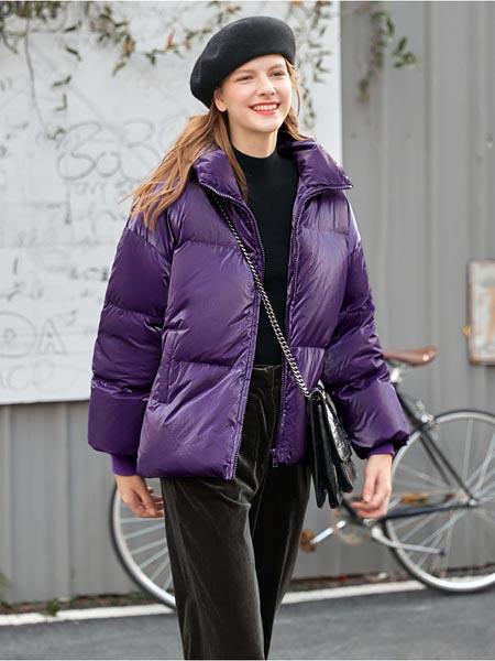 爱依莲女装品牌2020秋冬紫色日系外套