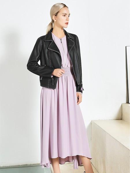 JAC女装品牌2020秋黑色皮质风衣
