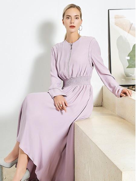 JAC女装品牌2020秋冬紫色圆领连衣裙