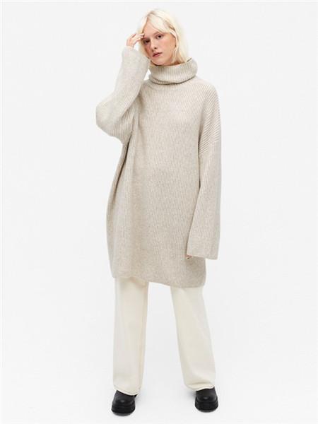 Monki女装品牌2020秋冬高领灰色毛衣