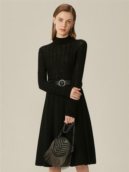 恩曼琳女装品牌2020春夏高领黑色束腰长袖连衣裙