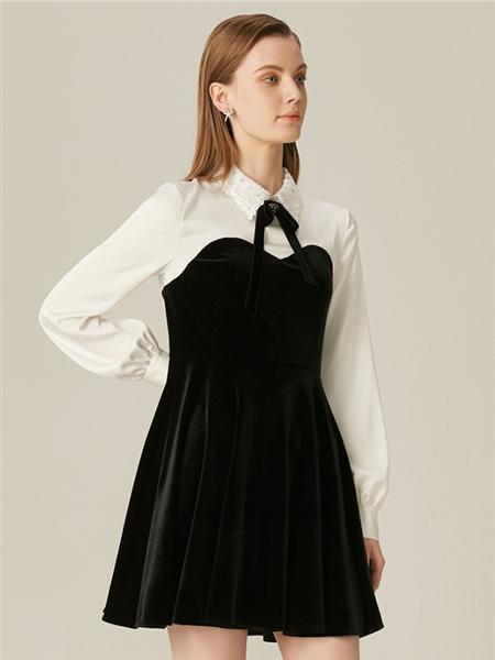 恩曼琳女装品牌2020春夏高腰黑色连衣裙