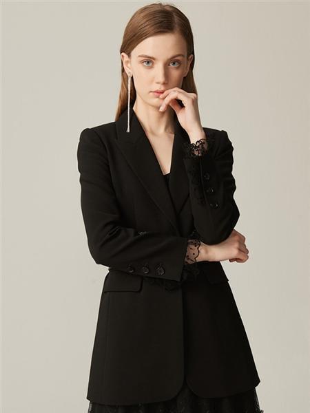恩曼琳女装品牌2020春夏商务黑色外套