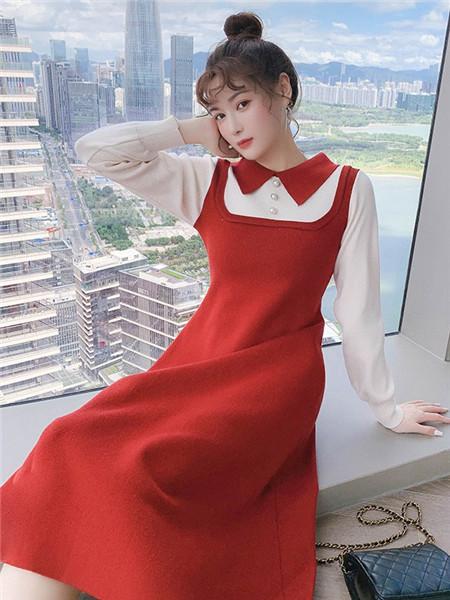 歌贝姿女装品牌2020秋季吊带红色连衣裙