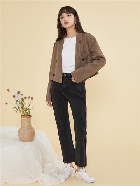 ZET des ZET女装品牌2020秋季时尚褐色外套