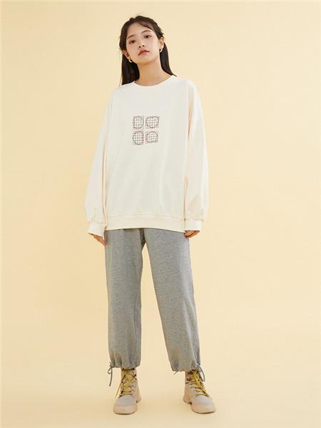ZET des ZET女装品牌2020秋季白色极简圆领上衣