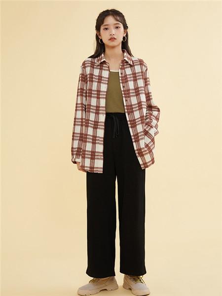 ZET des ZET女装品牌2020秋季红色格子立领外套